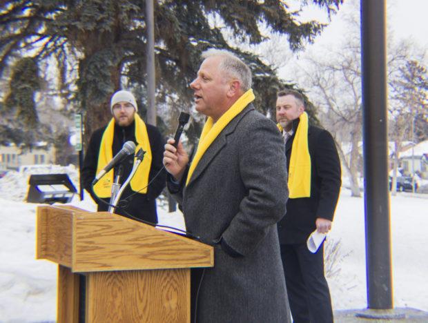 Montana Family Foundation President/CEO Jeff Laszloffy speaking at the school choice rally.