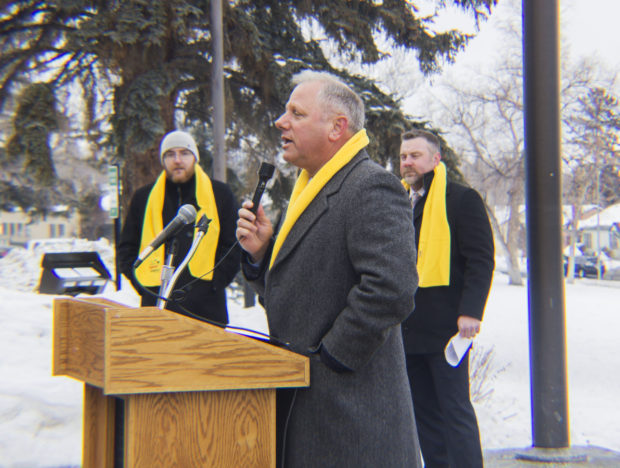 Montana Family Foundation President/CEO Jeff Laszloffy speaking at the school choice rally.